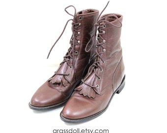 Vintage Justin   Brown Leather Lace- Up Boots, Men's Size 7 , Mad in USA
