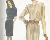 1990s Very Easy Very Vogue Draped Skirt Dress Blouson Bodice Vogue 9060 © 1994 Uncut FF Size 12-14-16 Women's Vintage Sewing Pattern