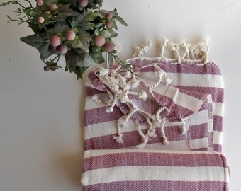 Organic Cotton Towel Pink Bath Beach Towel Handwoven Fouta Peshtemal High Quality Turkish Cotton Bath,Beach,Spa,Yoga,Pool Towel