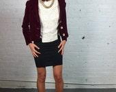 1950s OLEG CASSINI burgundy velvet blazer S M