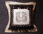 Steampunk Octopus Embroidered Throw Pillow with Fringe