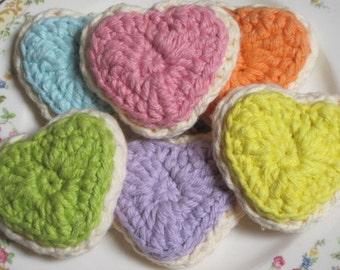 Crochet Heart Cookies- Half Dozen