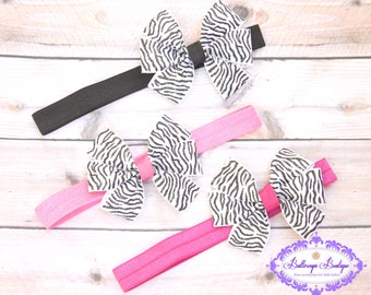 Zebra headband, zebra bow, black white pink headband, infant headband, baby headband