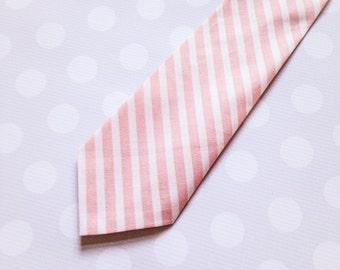 Blush Pink Stripe Tie for Boys