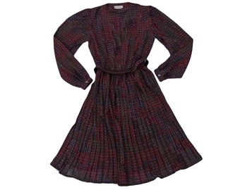 80s black & red geometric spot square print pleated midi dress // sz m