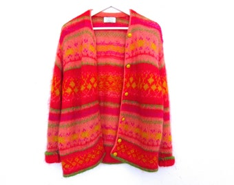 90's Patterned Color Cardigan size - S/M