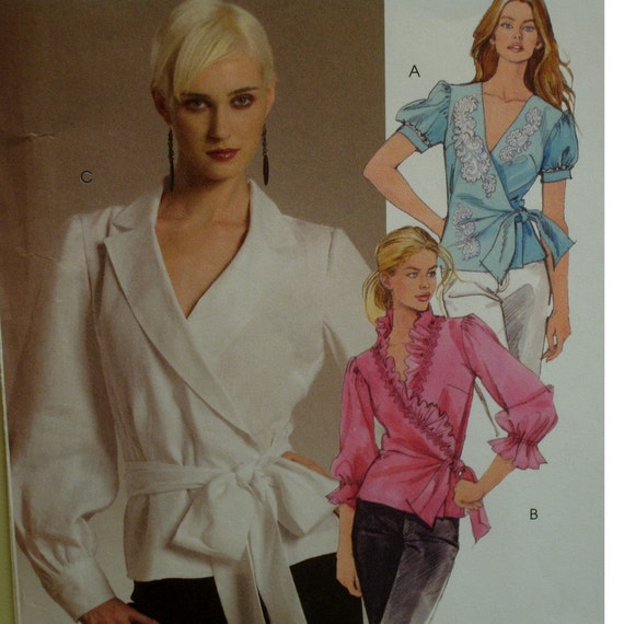 Fancy Wrap Blouse Pattern, Notched Collar or Ruffle, Full Sleeves, Cuff or Ruffle. Tie Belt, McCalls No. 5323 UNCUT Size 14 16 18 20