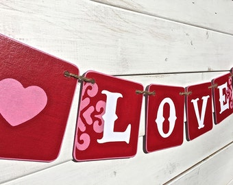 LOVE banner, valentine banner, wedding banner, pink and red, baby shower banner, engagement banner, valentine photo prop, baby photo prop