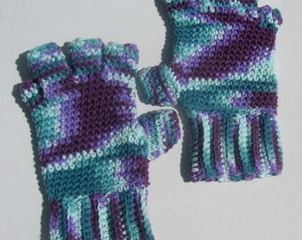 Fingerless Gloves Thick Cotton Crochet Green and Purple LARGE