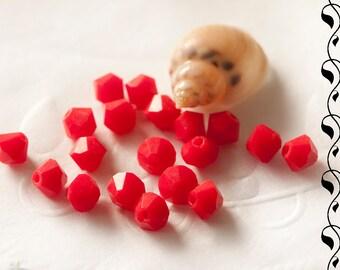 M.C. beads bicones 4 mm red opaque 30 pcs.