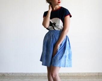 Clearance SALE/ High waisted Skirt / Blue Tye Dye skirt / Skater skirt