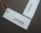 Cool design gifts men - Minimalist Leather Luggage tags / Luggage Labels with a kick. Personalized. Travel set of 2.