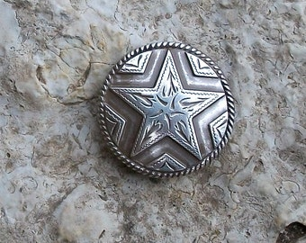 Antiqued Silver Concho with Silver Star Perfect Size for Ring