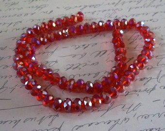 Small Red AB Faceted Crystals Strand