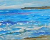 Ocean Art, Abstract Seascape, California Coast Art, Blue Wave Art. Beach Art