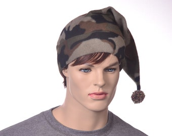 Mens Camo Stocking Cap with Pompom Long Pointed Camouflage Elf Cap Adult Warm Winter Hat