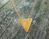 Triangle Neckalce-Initial Necklace-Triangle Initial Necklace-Arrowhead Necklace-Personalized Triangle Necklace-Geometric Necklace-Momentusny