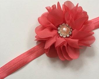 Coral flower girl headband, coral headband, coral wedding, flower girl headband