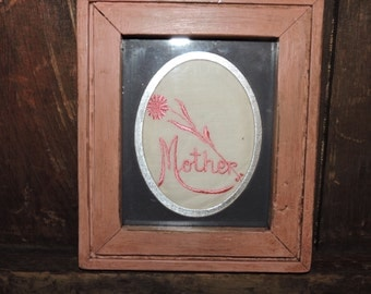 "Mother's Day Pink Picture Frame - Distressed Frame with Vintage Hanky - Mother is Embroidered in Pink - 6 1/2"" x 5 1/2"" - Mother's Day"