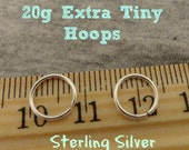 Extra Tiny 20g Sterling Silver Hoops