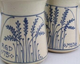 Personalized  Mug  Beer Soup or Coffee or Tea Mug Blue Wheat  Pattern