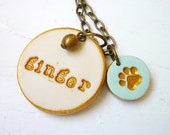 Dog Paw Necklace - Cat Paw Necklace - Personalized pet jewelry - Memorial Pet Jewelry
