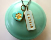 Pet memorial - Personalized Pet Jewelry - Dog Paw Necklace - Dog Name