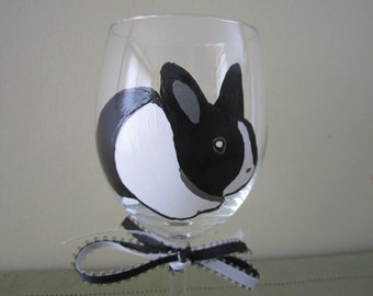 Hand Painted Wine Glass Dutch Rabbit - Black and White Easter Bunny