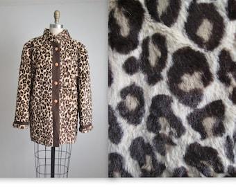 Faux Leopard Fur Jacket // Vintage 1970's Faux Leopard Print Fur Jacket L