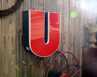 Vintage Marquee Sign Letter Capital 'U': Large Red & White Wall Hanging Initial -- Industrial Neon Channel Advertising Salvage