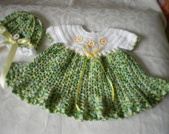 Welcome Spring Dress and Hat Set in 6 to 12 Months