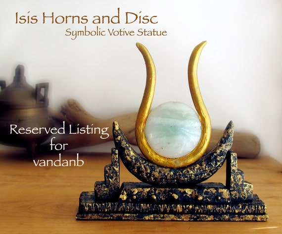 RESERVED for vandanb - The Goddess Isis - Handcrafted Horns and Solar Disc Symbolic Altar Votive Statue with 40mm Blue Amazonite Disc