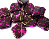 Large purple and black speckled beads, gold striping, acrylic 30mm x 26mm, qty 10