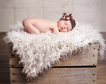 Oatmeal Baby Accessories Baby Photo Prop Knit Furry Cream Shaggy Texture PuffPelt for Children BabyBirdz