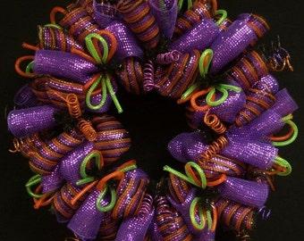 Halloween Wreath, Purple Orange Black Lime Green, Wreaths for the Door, Halloween Door Decor (1130)