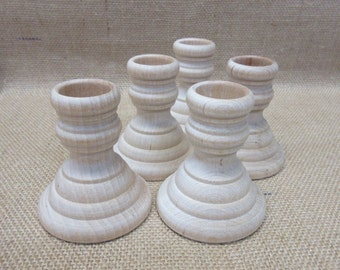 Wood Candlesticks - Unfinished 2-1/4 Inches Tall French Country Style - Set Of Five