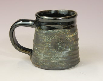 Coffee cup.  Rustic mug. Wheel thrown cup.  Large mug. 12oz cup. Soda fired mug