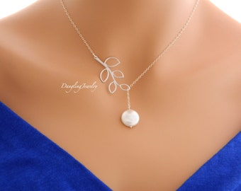 SILVER Pearl Necklace, Lariat Necklace, Bridesmaid Gift Ideas, Bridal Y Necklace, Bridal Party Gift, Bridesmaid Jewelry, Pearl Jewelry