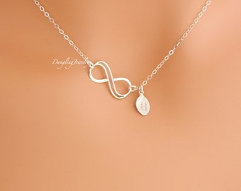 Double Infinity Necklace, SILVER Initial Necklace, Eternity Necklace, Sister Necklace, Mother Day Jewelry, New Mom Gift, Girlfriend Necklace