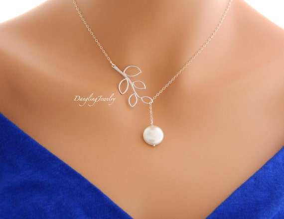 Wedding Gift Necklace: SILVER Pearl Necklace Lariat Necklace Bridesmaid Gift Ideas