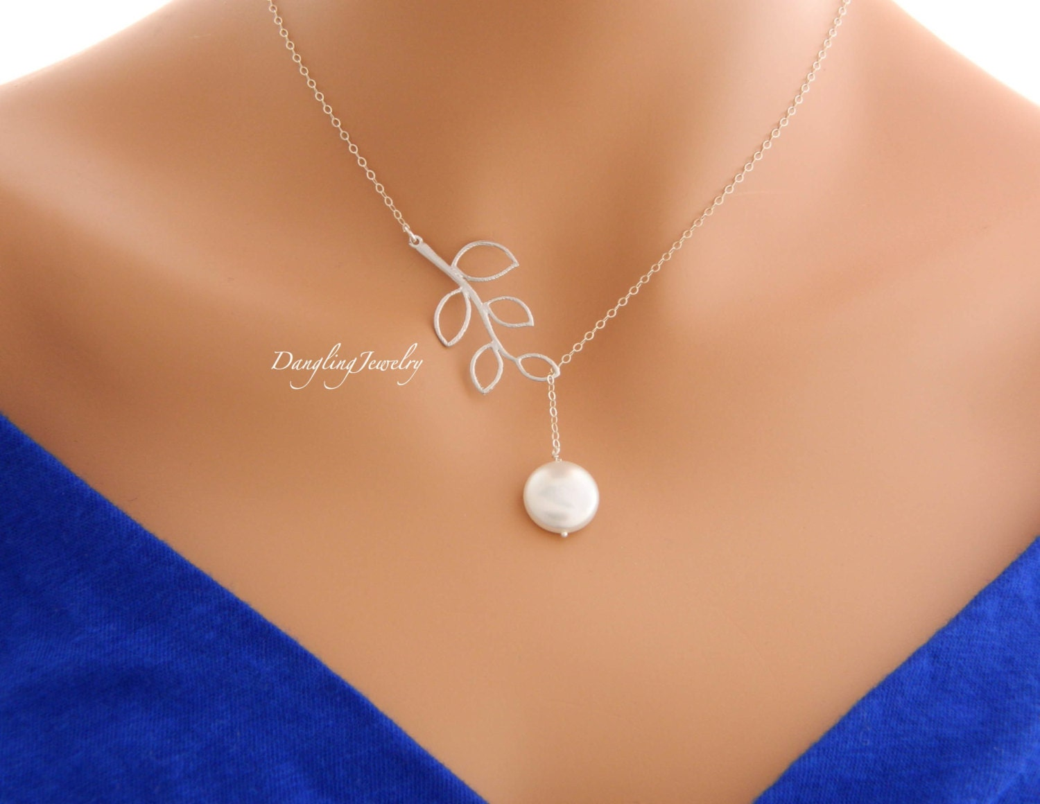SILVER Pearl Necklace Lariat Necklace Bridesmaid Gift Ideas