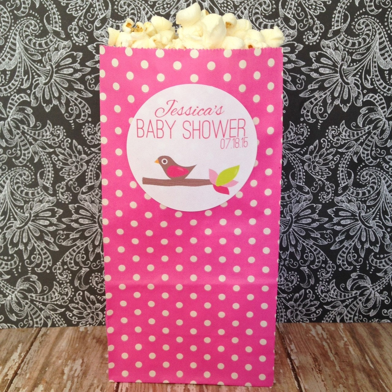 12 Baby Shower Popcorn Bags Personalized Popcorn Baby Shower