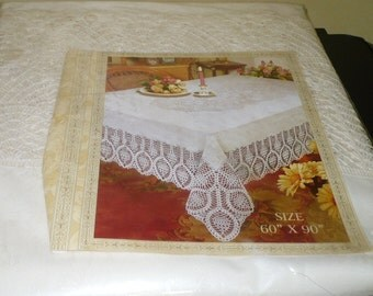 1/2 Price - Vinyl & Lace Table Cloth - 60 x 90 - Never Used Still In Package - Read Below