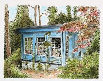 "Watercolor Architectural Art Pen and Ink Original sfa Home Decor 9"" x 7""  Blue green artist studio portrait landscape fine art"