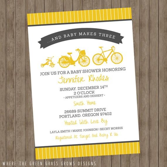 Bike Baby Shower Invitation Printable