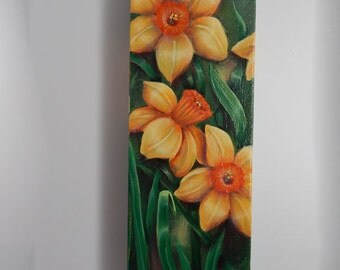 Spring Daffodils Painting, Original Acrylic Painting,  12 x 4 x 1.25 inches, Gallery Wrapped Canvas, Yellow Daffodils Artwork, Ready To Hang