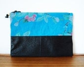Upcycled Dusty Blue Floral Cloth and Black Vegan Leather Zippered Pouch