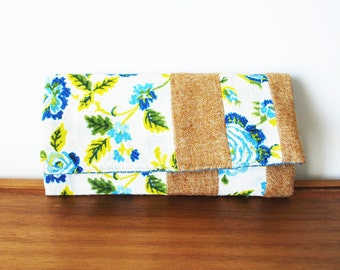 Blue and Olive Floral Linen and Camel Wool Trifold Clutch Wallet