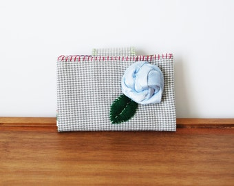 CLEARANCE--Grey and White Checkered Business Card or Credit Card Holder with Pale Blue Rosette