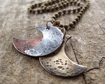 Men's Crescent Moon Necklace, Moon Phases Necklace, Mixed Metal Jewelry, Supermoon Jewelry, Moon Charms, Bohemian Jewelry